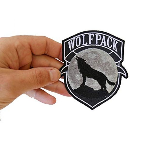 Ivamis Trading Airsoft Morale Patch 2 Wolfpack Patch Wolf Howling Moon Silhouette - 4x3.6 inch. Embroidered Iron on Patch