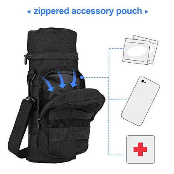 ProCase Tactical Pouch 3 ProCase Water Bottle Pouch, Tactical MOLLE Hydration Carrier Bag with Extra Accessory Pouch and Detachable Shoulder Strap -Black