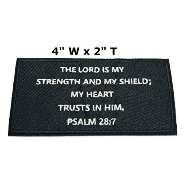 """Appalachian Spirit Airsoft Morale Patch 2 Psalms 28:7 Bible Verse - 4"""" W x 2"""" T - Embroidered DIY Iron on or Sew-on Decorative Patch Badge Emblem Military Tactical Series Applique"""