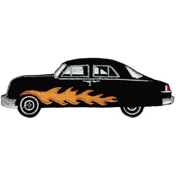 Cypress Collectibles Embroidered Patches Airsoft Morale Patch 1 Hot Rod Iron-On Patch Embroidered Car Flames Souvenir Flaming Ford Mercury Automobile