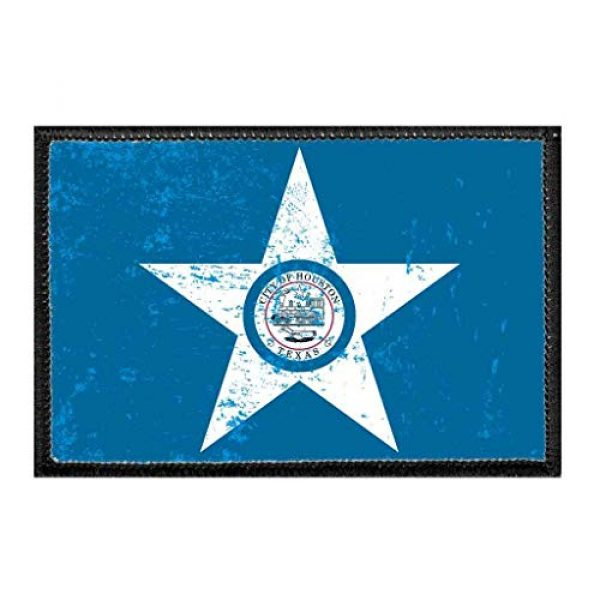 P PULLPATCH Airsoft Morale Patch 1 Houston City Flag - Color - Distressed Morale Patch   Hook and Loop Attach for Hats, Jeans, Vest, Coat   2x3 in   by Pull Patch