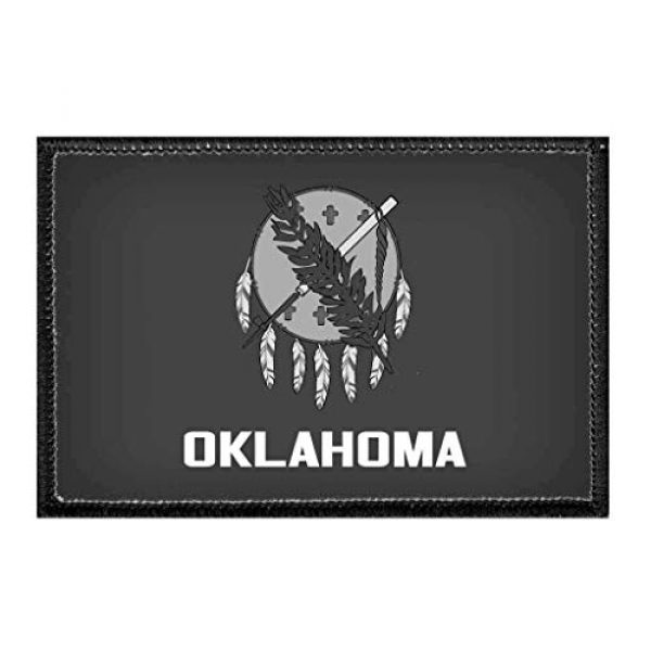 P PULLPATCH Airsoft Morale Patch 1 Oklahoma State Flag - Black and White Morale Patch   Hook and Loop Attach for Hats, Jeans, Vest, Coat   2x3 in   by Pull Patch
