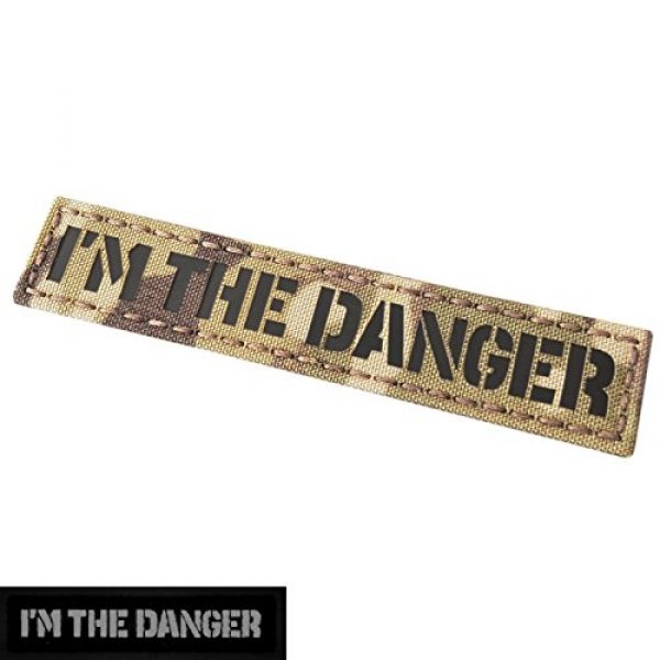 Tactical Freaky Airsoft Morale Patch 3 IR I am The Danger 1x5 Multicam Infrared Name Tag Callsign Morale Tactical Fastener Patch