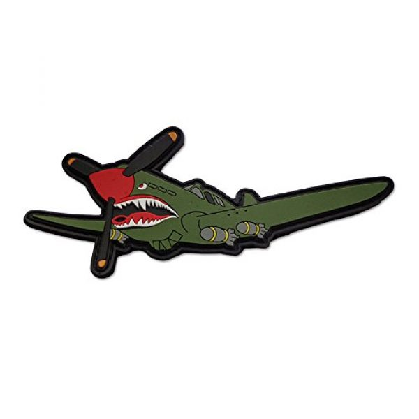 BASTION Airsoft Morale Patch 1 BASTION Morale Patches (P40 Shark Plane)   3D PVC Patch with Hook & Loop Fastener Backing   Well-Made   Military Combat Badge Patches Ideal for Tactical Bag, Hats & Vest