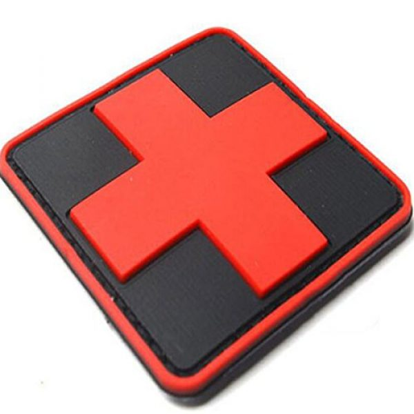 dufu-beauty- Airsoft Morale Patch 2 Outdoor Products PVC Patch Armband The Medical Rescue Of The Red Cross Chapter Black Background/Red