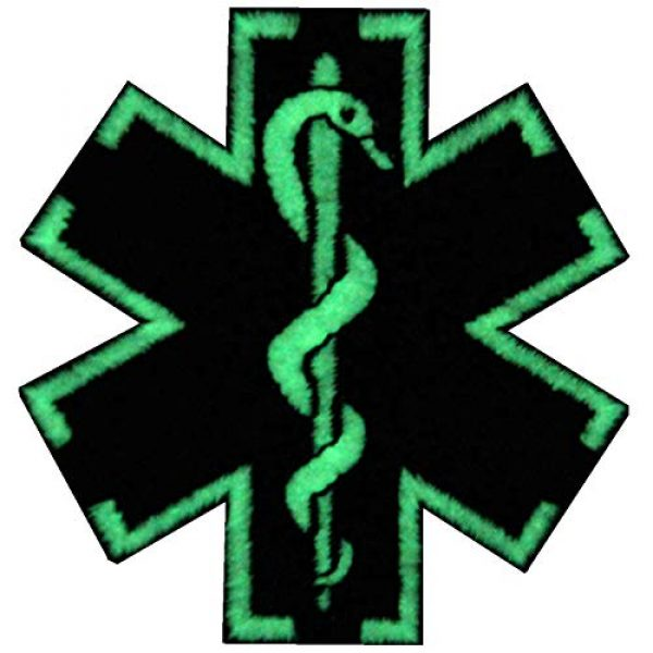 EmbTao Airsoft Morale Patch 1 EmbTao Glow in Dark ACU EMS EMT Medic Paramedic Star of Life Morale Tactical Embroidered Applique Iron On/Sew On Patch - Black & White