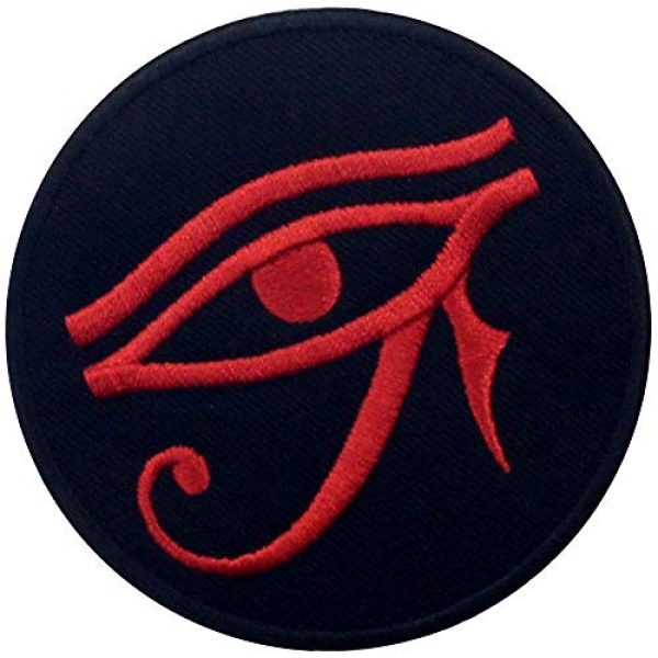 EmbTao Airsoft Morale Patch 3 Eye of Horus Wedjat Patch Embroidered Applique Iron On Sew On Emblem, Red & Black