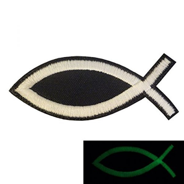 LEGEEON Airsoft Morale Patch 1 LEGEEON Glow Dark Ichthys Jesus Fish Christian ISAF Ichthus Morale Sew Iron on Patch