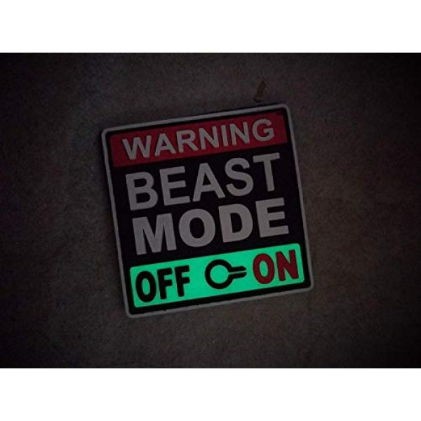 """Tactical Innovations Canada Airsoft Morale Patch 5 PVC Morale Patch - Beast Mode - Glow in Dark - 2""""x2"""""""