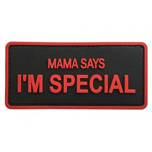 """G-Force Airsoft Morale Patch 1 G-Force """"Mama Says I'm Special PVC Morale Patch (Black/Red)"""