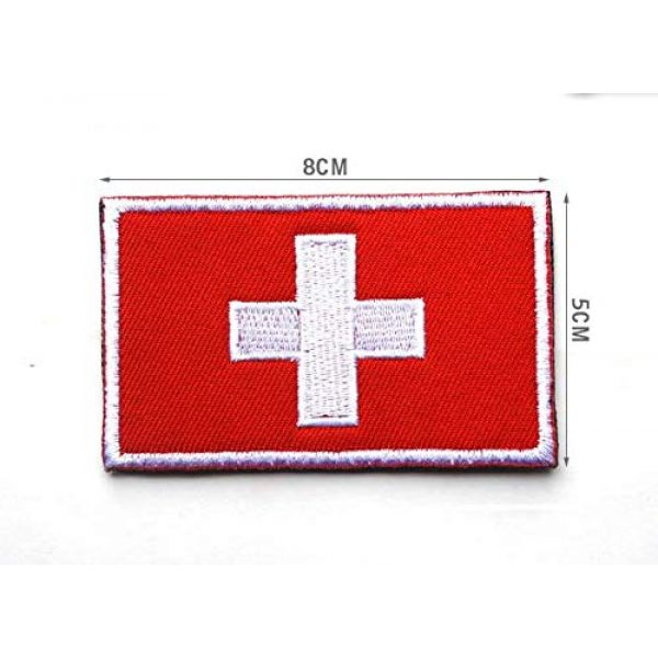 Tactical Embroidery Patch Airsoft Morale Patch 3 2pcs Switzerland Flag Embroidery Patch Military Tactical Morale Patch Badges Emblem Applique Hook Patches for Clothes Backpack Accessories