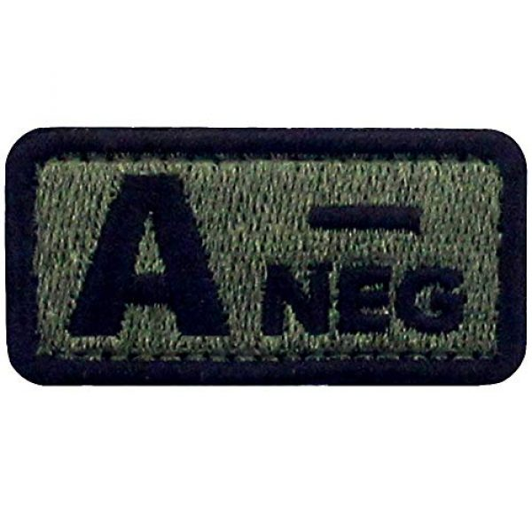 """EmbTao Airsoft Morale Patch 1 EmbTao Type A Negative Tactical Blood Type Patch Embroidered Morale Applique Fastener Hook & Loop Emblem - Green & Black - 2""""x1"""""""