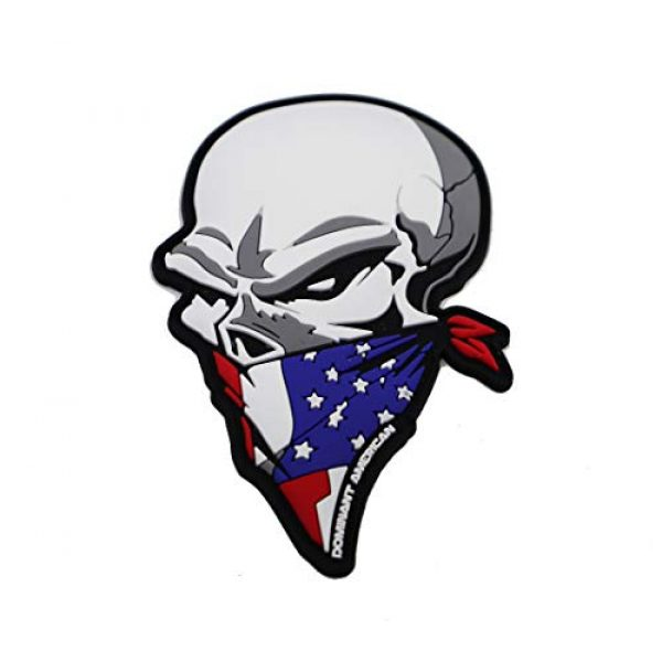 """Dominant American Airsoft Morale Patch 1 The DOMINANT American PVC Patriot Skull morale American flag PATCH 3.5"""" tall x 3"""" wide"""
