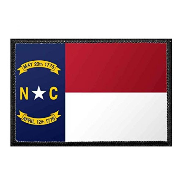 P PULLPATCH Airsoft Morale Patch 1 North Carolina State Flag - Color Morale Patch | Hook and Loop Attach for Hats, Jeans, Vest, Coat | 2x3 in | by Pull Patch