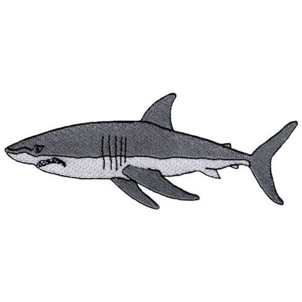 Cypress Collectibles Embroidered Patches Airsoft Morale Patch 1 Great White Shark Embroidered Patch Jaws Iron-On Applique Ocean Fish