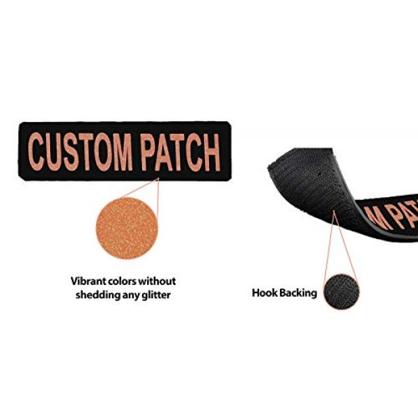 Dogline Airsoft Morale Patch 4 Dogline Custom Patch w/Glitter Letters for Dog Vest, Harness or Collar | Customizable Bling Text | Personalized Patches w/Hook Backing | Name, Agility, Service Dog, ESA