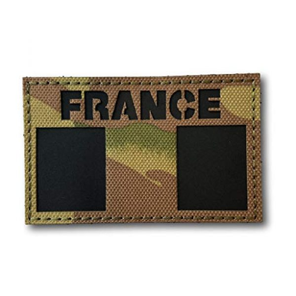 """Backwoods Barnaby Airsoft Morale Patch 1 France Infrared IFF IR Tactical Morale Patch with Hook & Loop (French Multicam, 2"""" x 3.25"""")"""