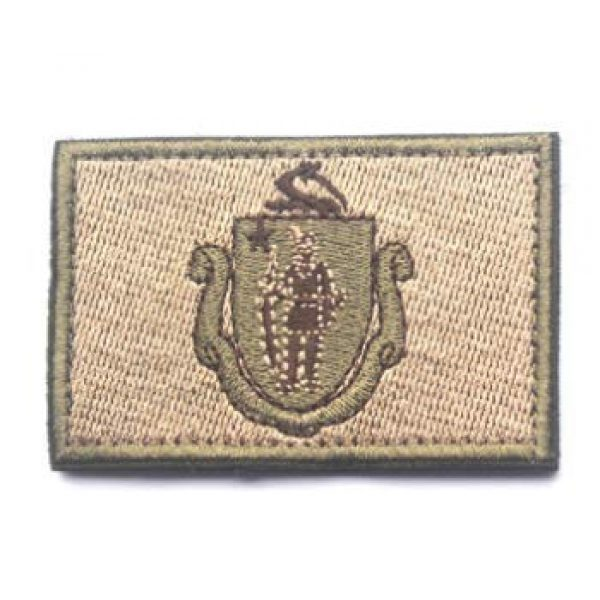 Tactical Embroidery Patch Airsoft Morale Patch 1 State Flag of Massachusetts Embroidery Patch Military Tactical Morale Patch Badges Emblem Applique Hook Patches for Clothes Backpack Accessories