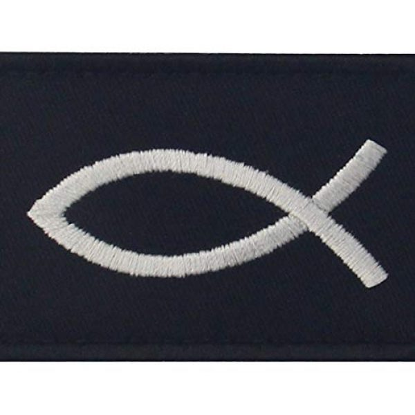 EmbTao Airsoft Morale Patch 2 Jesus Fish Ichthys Patch Embroidered Morale Applique Fastener Hook & Loop Emblem - White & Black
