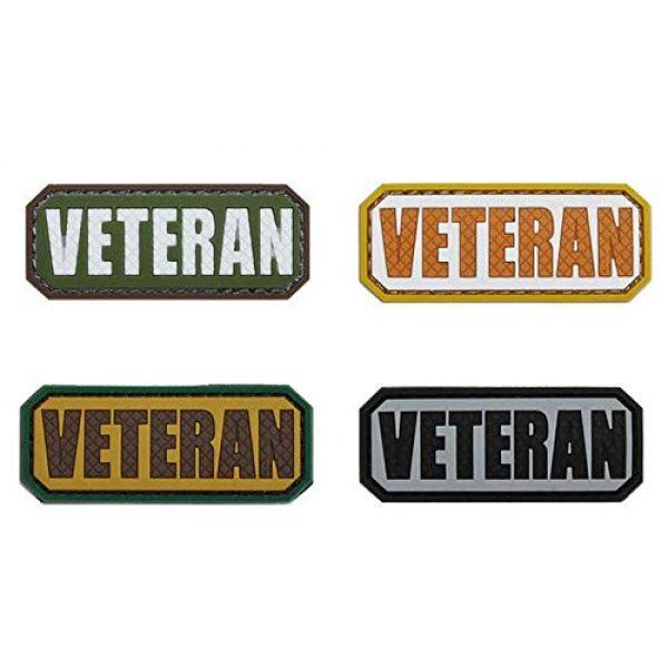Tactical PVC Patch Airsoft Morale Patch 1 Veteran Morale Military Patch 3D PVC Rubber Tactical Rubber Hook Patch (4pcs)