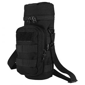 ProCase Tactical Pouch 1 ProCase Water Bottle Pouch, Tactical MOLLE Hydration Carrier Bag with Extra Accessory Pouch and Detachable Shoulder Strap -Black