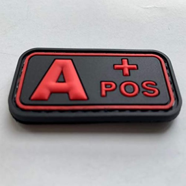 uuKen Airsoft Morale Patch 3 uuKen PVC Rubber Medic EMT EMS Rescue 5x2.6cm Red A+ A POS Positive Blood Type Group Identifier Tab 3D Tactical Patch with Hook Fastener Backing (Black and Red, 5x2.6cm)