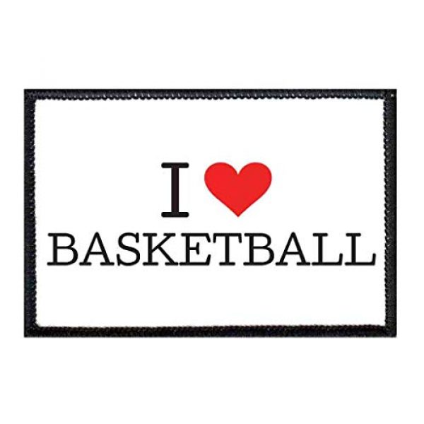 P PULLPATCH Airsoft Morale Patch 1 I Love Basketball Typewriter Morale Patch   Hook and Loop Attach for Hats, Jeans, Vest, Coat   2x3 in   by Pull Patch