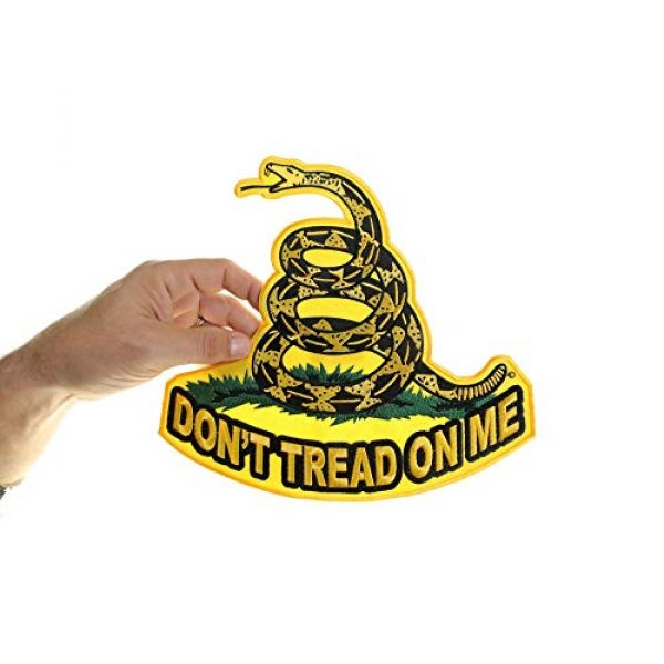 Ivamis Trading Airsoft Morale Patch 3 Don't Tread On Me, Yellow Gadsden Snake, Large Back Patch - 10x10 inch. Embroidered Iron on Patch