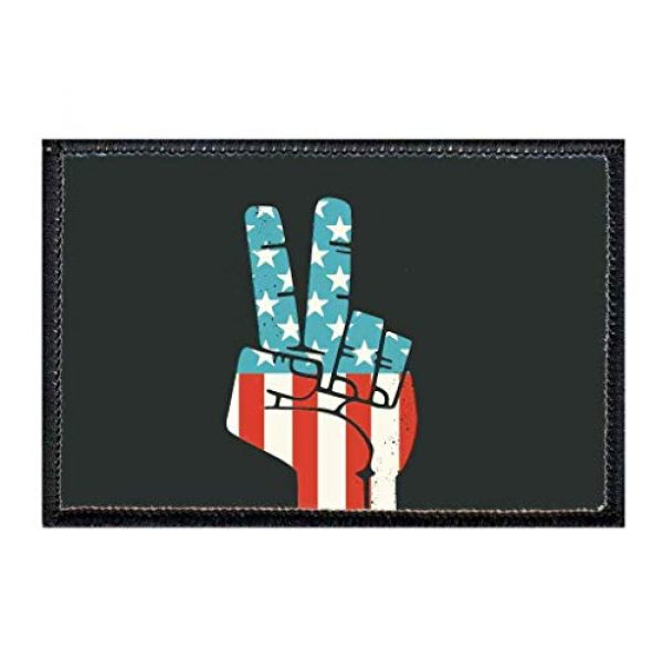 P PULLPATCH Airsoft Morale Patch 1 Peace Fingers - American Flag Morale Patch | Hook and Loop Attach for Hats, Jeans, Vest, Coat | 2x3 in | by Pull Patch