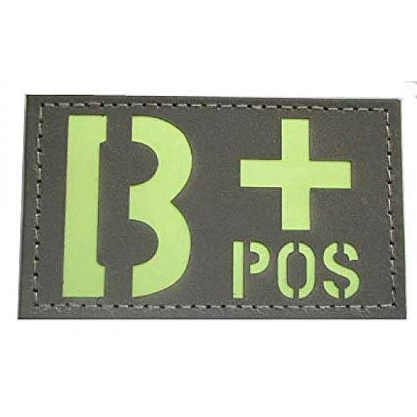 Embroidery Patch Airsoft Morale Patch 1 Glow in The Dark Blood Type Military Hook Loop Tactics Morale Patch (B+)