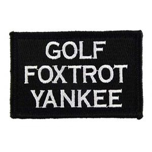 Tactical Embroidery Patch Airsoft Morale Patch 1 Golf Foxtrot Yankee Embroidery Patch Military Tactical Morale Patch Badges Emblem Applique Hook Patches for Clothes Backpack Accessories