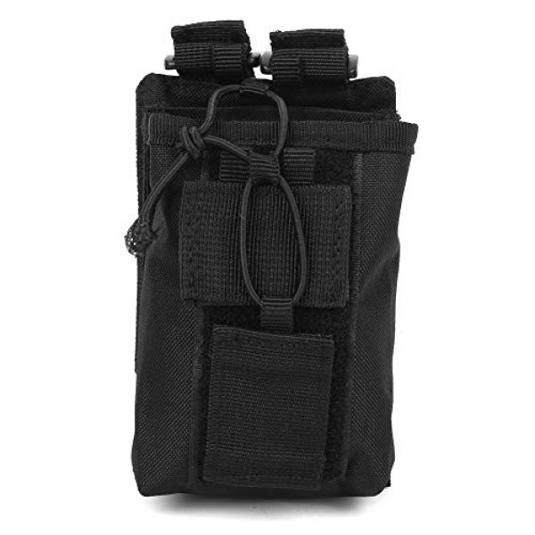 Rosvola Tactical Pouch 1 Rosvola Waterproof Walkie-Talkie Holder, with Snap Buckles Intercom Bag, Walkie-Talkie Bag, Wear-Resistant and Durable Simple Design and Color Black for Security Office