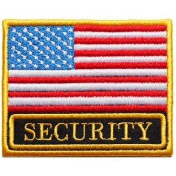 Tactical Embroidery Patch Airsoft Morale Patch 1 USA Flag & Security Embroidery Patch Military Tactical Morale Patch Badges Emblem Applique Hook Patches for Clothes Backpack Accessories