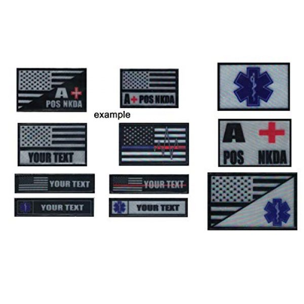 DREAM ARMY Airsoft Morale Patch 3 Blood Type A+ POS NKDA Morale Patch Hook Backing Reflective Print Tape on PVC 2pcs Black and White