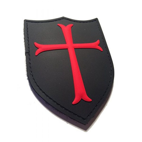 Britkit Airsoft Morale Patch 1 Red and Black 3d Pvc Navy Seal Crusader Team 6 Shield hook/loop Military Morale Patch