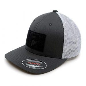 P PULLPATCH Tactical Hat 1 Pull Patch Tactical Hat | Flexfit Trucker Mesh Cap | Fitted, Curved Bill, Closed Back, Elastic Panels | Hook and Loop Patch Attachable | Charcoal and White | Free US Flag Patch Included