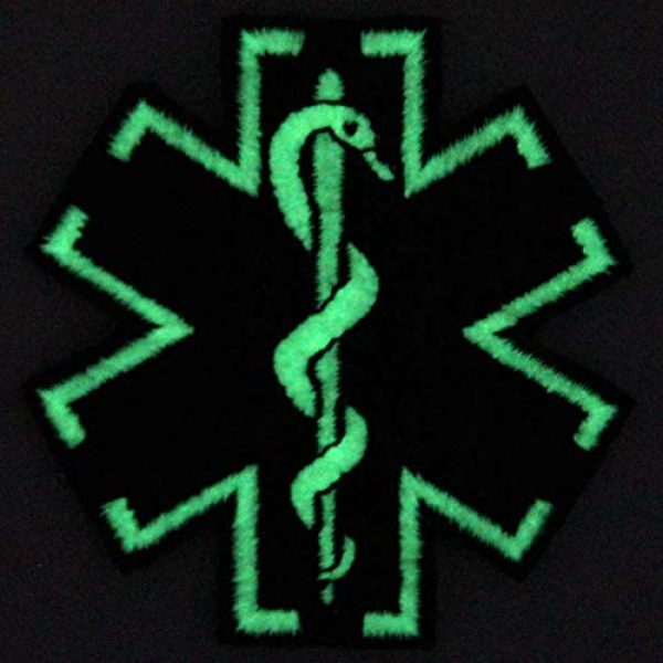 EmbTao Airsoft Morale Patch 4 EmbTao Glow in Dark ACU EMS EMT Medic Paramedic Star of Life Morale Tactical Embroidered Applique Iron On/Sew On Patch - Black & White