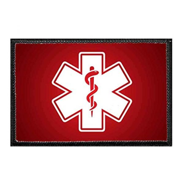 P PULLPATCH Airsoft Morale Patch 1 Medic Symbol - White - Red Background Morale Patch | Hook and Loop Attach for Hats, Jeans, Vest, Coat | 2x3 in | by Pull Patch