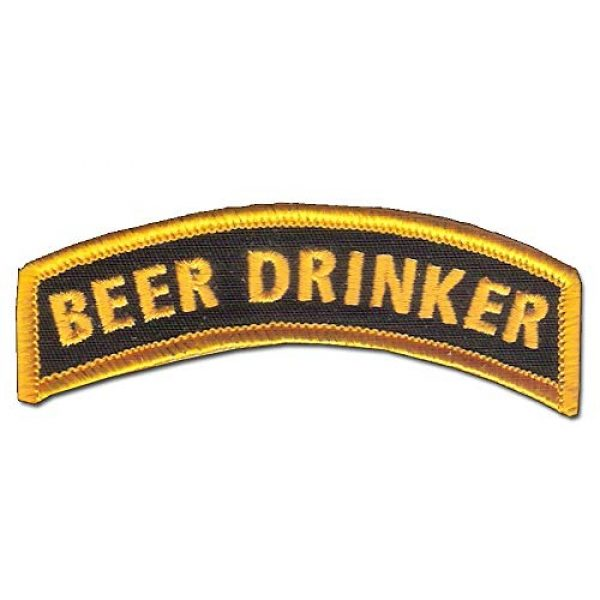 """Bayonet Design Airsoft Morale Patch 1 Beer Drinker TAB - 3 1/2"""" x 1"""" Wax Backed - Special Operations - Micro Brewery - US Army Ranger - Special Forces - Airborne Ranger - Harley Davidson - Micro Beer - Veteran Morale Patch"""