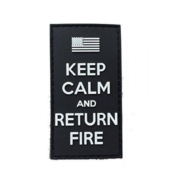 Empire Tactical USA Airsoft Morale Patch 2 3d PVC black Keep Calm and Return Fire (hook/loop) Morale Patch US Flag Army USA