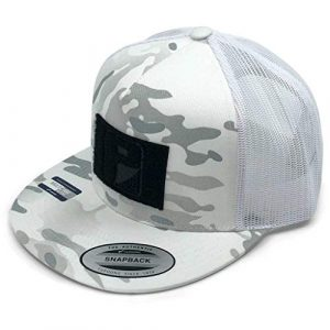 P PULLPATCH Tactical Hat 1 Pull Patch Tactical Hat | Authentic Snapback Multicam Flat Bill Trucker Cap | 2x3 in Hook and Loop Surface to Attach Morale Patches | 5 Panel | Alpine White Camo and White | Free US Flag Patch