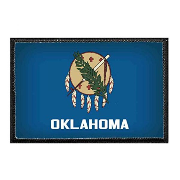 P PULLPATCH Airsoft Morale Patch 1 Oklahoma State Flag - Color Morale Patch | Hook and Loop Attach for Hats, Jeans, Vest, Coat | 2x3 in | by Pull Patch