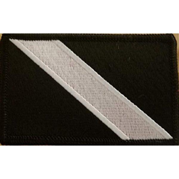 Fast Service Designs Airsoft Morale Patch 1 Scuba Diver Flag Embroidered Patch Fastener Backing Hook & Loop Morale Tactical Shoulder Emblem Black & White Colors Black Border #3