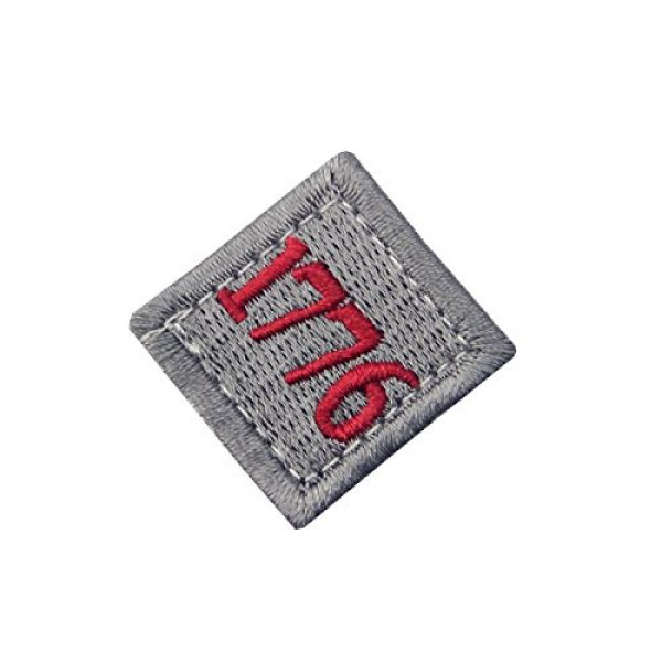 EmbTao Airsoft Morale Patch 3 1776 American Independence Emblem Tactical USA Morale Embroidered Applique Fastener Hook&Loop Patch - Sliver Gray