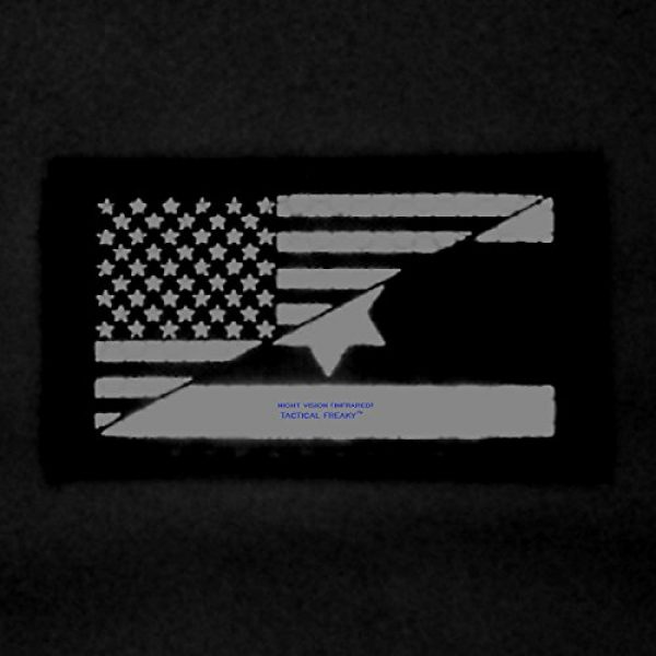 Tactical Freaky Airsoft Morale Patch 3 Multicam Infrared IR USA Israel Friendship Flag 2x3.5 IFF Tactical Morale Fastener Patch