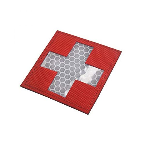 Zhikang68 Airsoft Morale Patch 3 Reflective Medic Patches,Infrared IR EMS EMT MED Tactical Medical Red Cross Morale Hook&Loop Badge First Aid Decorative Appliques (White Red)