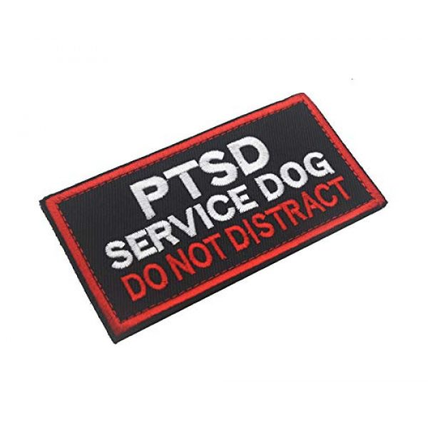 Zhikang68 Airsoft Morale Patch 2 Service Dog PTSD Patch Vests/Harnesses Do Not Distract Applique Embroidered Fastener Hook & Loop Emblem Military Tactical Army Morale Patches for Dogs and Pets