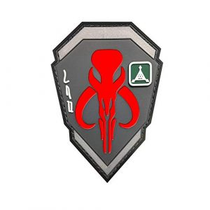 Zhikang68 Airsoft Morale Patch 1 Mandalorian Patch Mythosaur Skull Crest Shield Bounty Hunter Boba Fett Tactical Military Morale 3D PVC Rubber Armband Badge Emblem Applique (Red)