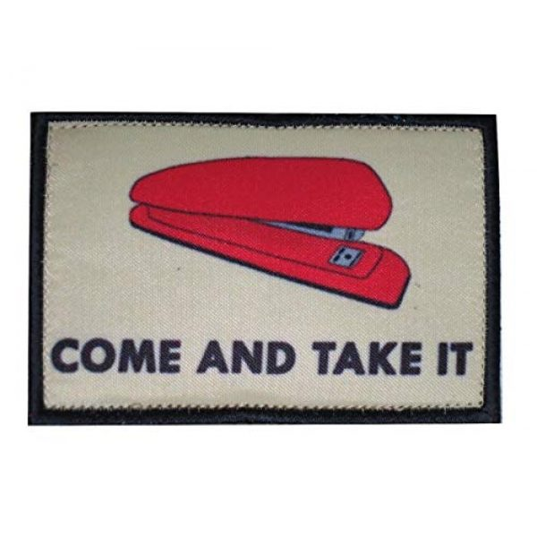 TrendyLuz USA Airsoft Morale Patch 1 TrendyLuz Red Stapler Come and Take It Office Tactical Morale Hook & Loop Patch