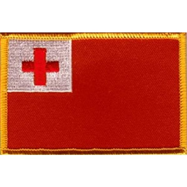 """World Flags Direct Airsoft Morale Patch 1 International Country Flag Patch 3.50"""" x 2.25"""", One Embroidered Iron or Sew On Flag Emblem; Over 100 Tactical Morale Patch Options Available (Tonga)"""